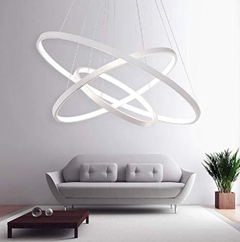 Led sospensioni 3circolare bianco design per tavolo da pranzo lampada da tavolo in metallo e acrilico salotto cucina sala di riunione dimmerabile con telecomando Ø20+ Ø40+ Ø60cm 70w 4500lm
