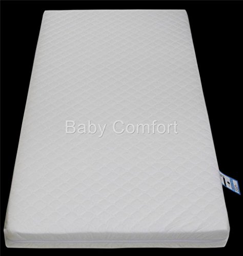 Anti-Bacterial Baby Cot Bed-Junior Bed Foam Mattress (140 x 70 x 13 cm) with Quilted Breathable Zip Cover