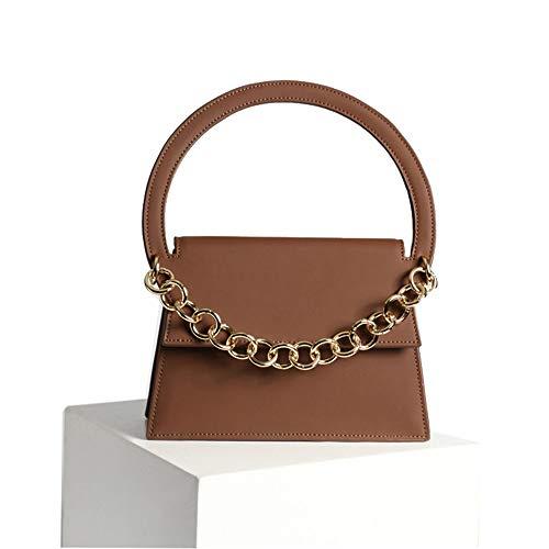 Ljleey Handtasche Damenhandtaschen aus Leder Tragbare einfache Halbring-Umhängetasche Mit Kettenriemen Peeling-Umhängetasche Crossbody-Umhängetasche (Farbe : Braun) -
