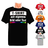 PixiPrints.com T-Shirt mit eigenem Foto Text Logo Name Selbst Gestalten * Ringgesponnene Baumwolle * vollfarbig Bedruckt * Viele Farben und Größen, Farbe:Schwarz, Größe:L
