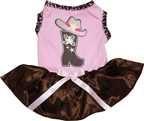 Petitebella Hundekleid, Cowgirlstiefel, weißes Hemd, braunes Tutu, Medium, Rose