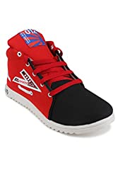 11E Mens Black & Red Casual Shoes ( 11E-HGS3-BLACK-RED-6 ) -Size-6