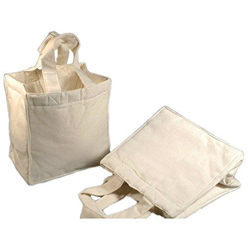 Baumwolltasche - Canvas Tasche Rohling aus Baumwolle natur zum Bedrucken und Bemalen, 19x18x12cm