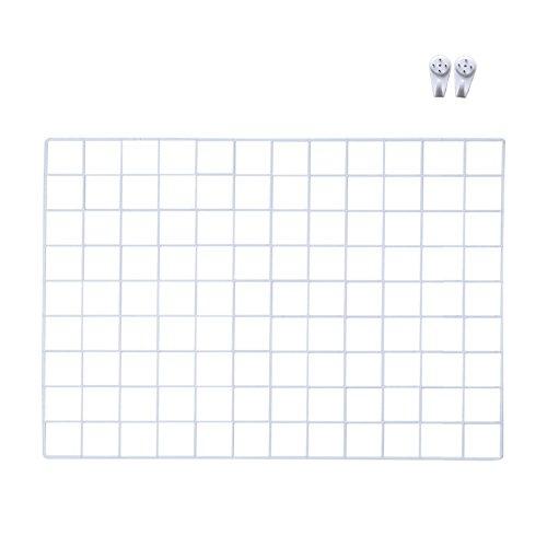 Qinghu DIY Raster-Fotowand, Metallgitter, Display-Panel, Organizer für Kunst, Memoboard, Pinnwand, Foto-Display-Halterung (65 x 45 cm) weiß -