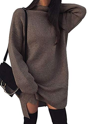 Minetom Damen Pullover Kleider Mode Minikleid Winterkleider Strickkleider Langarm Warm Oversize Stricksweat Strickpullover Lose Sweatkleid Braun DE 38