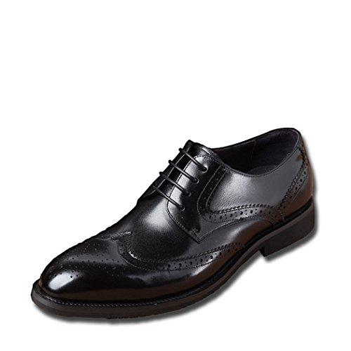 Hhy-men Affaires Chaussures En Cuir Décontracté Avec Fond Épais Sculpté Chaussures De Laçage Noir
