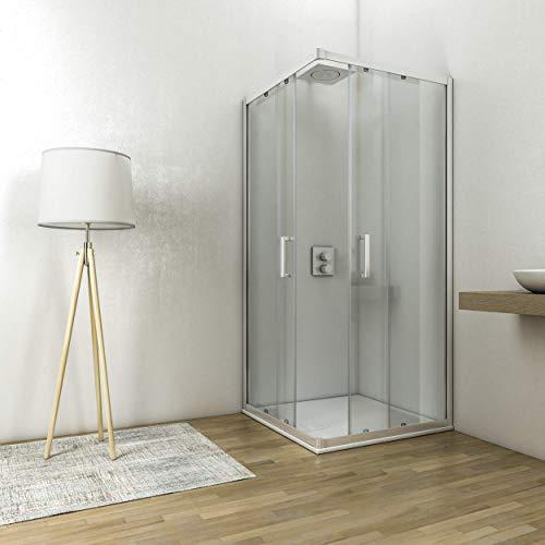 Box doccia angolare cabina con ante scorrelovi cristallo temperato anticalare 6 altezza 195