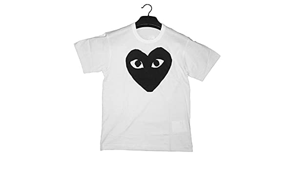 fafd3595cfdd Luoyi Comme des Garcons CDG Play White Cotton Women Short Sleeve Couple T- Shirt - White - Large  Amazon.co.uk  Clothing