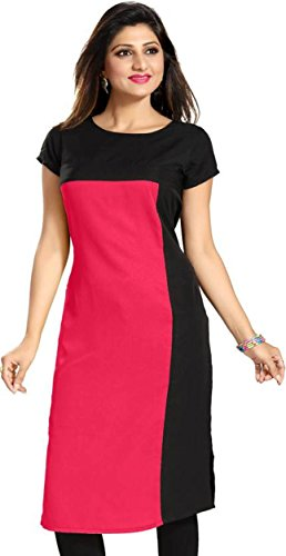 Purple Fashion Women's Crepe Pink Kurta (1234_Medium)