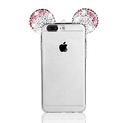 iPhone 8 Plus / iPhone 7 Plus Hülle, MOMDAD Glitzer Cartoon TPU Handyhülle für iPhone 8 Plus / iPhone 7 Plus Schutzhülle Dünnen Glänzend Crystal Kristall Silikon Bling Shining Maus Mouse Ohr Ear Zurüc Kristall ROSE Rosa