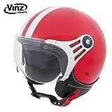Vinz Rollerhelm Jethelm Fashionhelm | Roller Jet Helm mit Streifen | in Gr. XS-XL | Motorradhelm mit Visier | ECE zertifiziert (M, Rot)