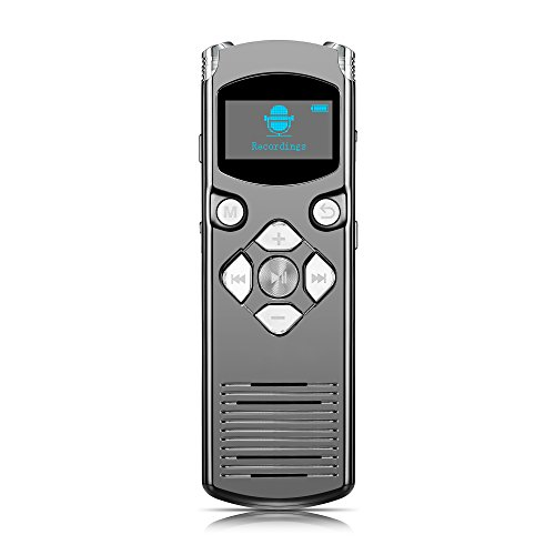 Anstar 8GB Digital Voice Recorder Audio Sound Recorder Dictaphone, Dual Microphone,MP3 Player,Voice Activated, Perfect for Recording Lectures, Meetings, Conversation and Interviews (Mp3-player Activated Voice)