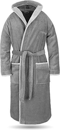 normani® Baumwoll Bademantel mit Kapuze in weicher Premium Qualität mit Öko Tex 100 für Damen und Herren Farbe Grau/Hellgrau Größe M