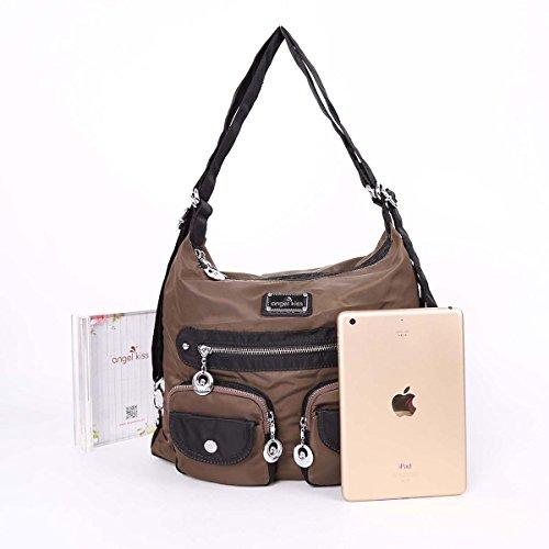 Angelkiss 3 utilizzo multi tasche borse sacchetti di spalla di nylon tessuto Zaino TP670 Caffè