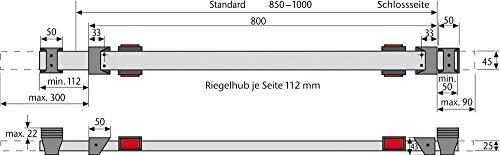 ABUS Panzerriegel Querriegel PR 1400 Silber Türblatt 850-1000 mm NEU OVP