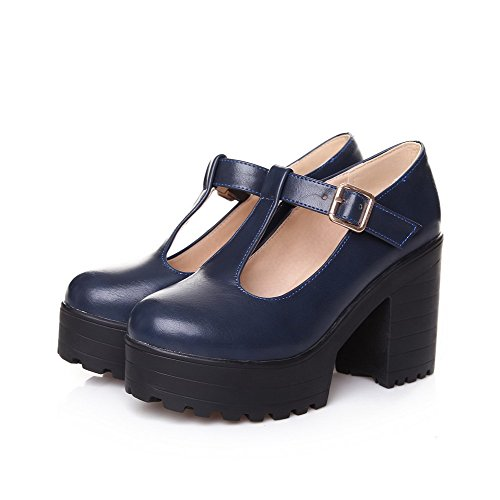 VogueZone009 Donna Luccichio Tirare Punta Tonda Tacco Alto Ballet-Flats Azzurro