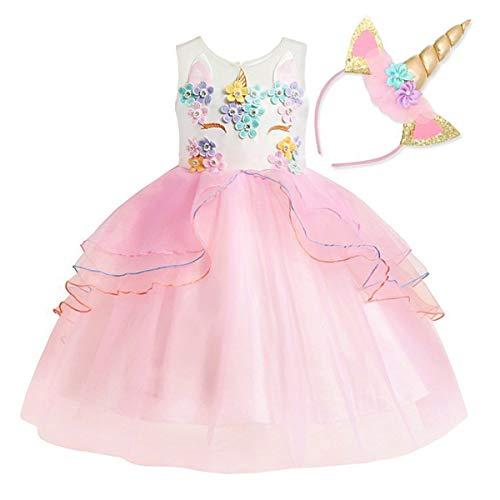 NNDOLL Mädchen Einhorn Rüschen Blumen Party Cosplay Kleid Brautkleid Princess Pink 110 3 4 Jahre (Kostüm Baby Einhorn Für)
