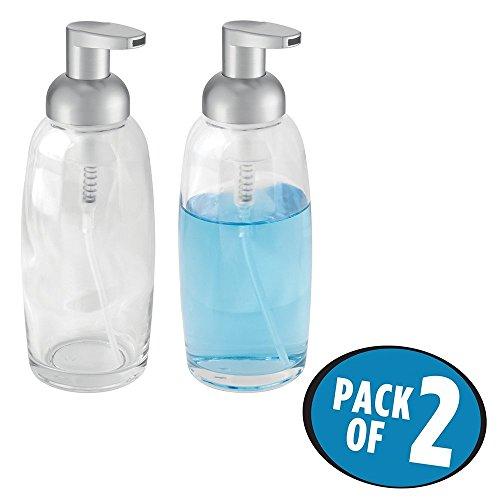 Küche Spüle Für Soap-pumpe (mDesign 2er-Set Schaumseifenspender – wiederbefüllbarer Pumpseifenspender aus Glas und Kunststoff – Schaumspender für Bad & Küche – durchsichtig/mattsilber)
