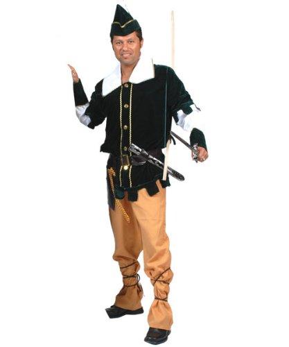bin Hood Herrenkostüm Oberteil Hose Hut Gürtel mit Tasche Größe 60 62 für Karneval, Fasching, Halloween, Motto Party / Abenteuer, Geschichten (Robin-hood-hosen)