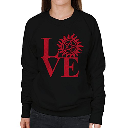 Love Supernatural Pentagram Women's Sweatshirt Black