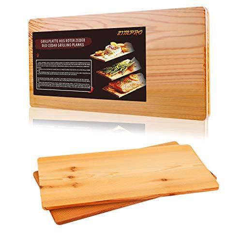 41JFAlJ oIL - IZIMU Grillbretter,Zedernholzbrett zum Grillen,Räucherbretter aus Zedernholz hergestellt aus 100% natürlichem Red Zedernholz,Grillbretter BBQ (2er Set)