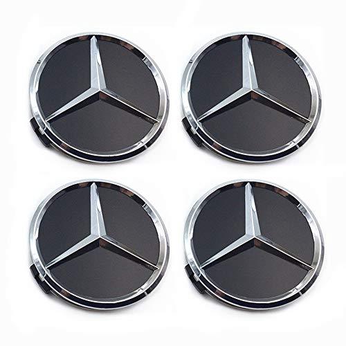 popluxy Felgendeckel Mercedes Benz 4 Stück 75mm Felgenkappen Nabenkappen für Mercedes-Benz Schwarz (Mercedes Benz-1)