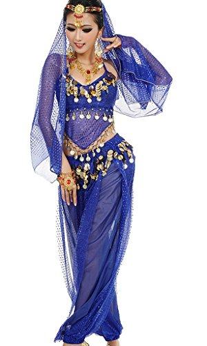 Damen Bauchtanz Kostüme Set Indischer Tanz Darbietungen Kleidung Königsblau