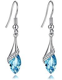 Boucles d'oreilles longues pour femme en argent avec topaze bleu et cristal