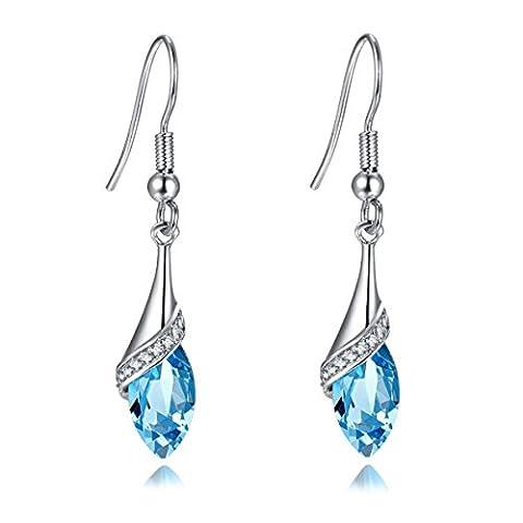 Topaz Blue Crystal Drop Hoop Long Earring for Women Statement Silver Jewellery