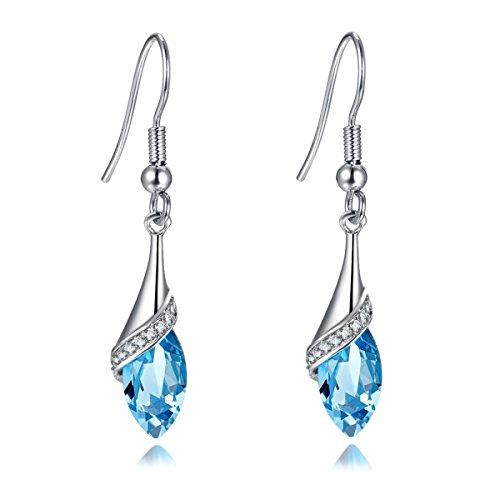 Blauer Schmuck Topas (Damen-Ohrringe, Topas, blaue Kristalle, lang, Silberfarben)