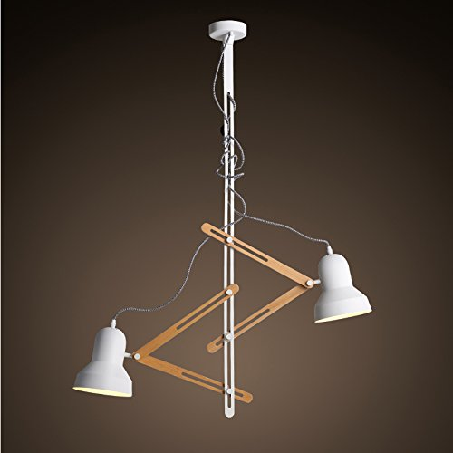 Hauptbeleuchtung Nordic minimalistischen Holz Kronleuchter kreative Doppel Kopf Teleskop Pixar Herrscher Restaurant Kronleuchter 985*1240mm, (Doppel Kostüm Kopf)