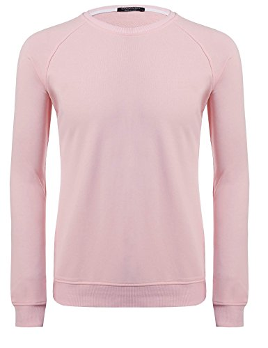 ZEARO Herren Casual O-Neck Langarm Stickerei Solid Pullover Sweatshirt Hell Rosa