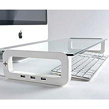 iTrend Ständer, mit 3eingebauten USB 2.0Anschlüssen, Tassen- und Handy-Halterung, für Monitor/Laptop–Weiß