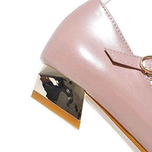 AllhqFashion Femme Pointu Fermeture D'Orteil à Talon Bas Pu Cuir Couleur Unie Boucle Chaussures Légeres Rose