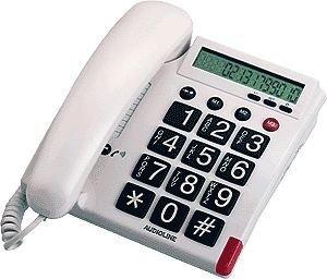 Audioline TEL 48 G cremeweiß Großtastentelefon mit 13 Speicher, optische Rufanzeige