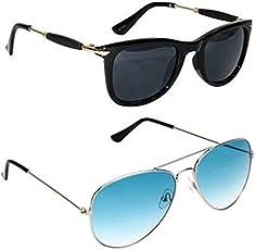 Sheomy Fashion Wayfarer Goggle And Sunglasses Ideal For Men Women Boys And Girls (Golden Rubber Stick Blue Mercury Square Wayfarer),Set Of 2