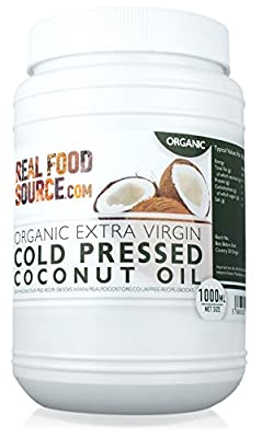 RealFoodSource Certified Organic Extra Virgin Cold Pressed Coconut Oil 1 Litre Eco Tub (~920g) with FREE Coconut Oil Recipe Ebook by RealFoodSource