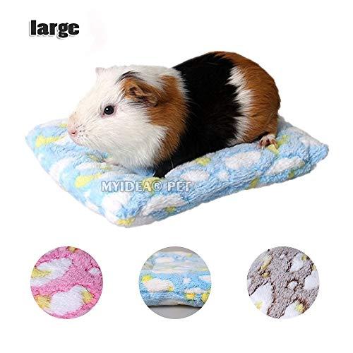 MYIDEA Hamster Bett, Rund Samt Warm Sleep Matte Pad für Hamster/Igel/Eichhörnchen/Mäuse/Ratten/Mini Dutch Pig/Chinchilla Kissen Klein Tier Betten, L(11.8x9.8in), Rectangle - Blue