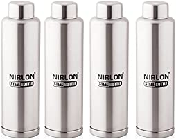 Nirlon Stainless Steel Water Bottle Set, 1 Litre, 4-Pieces, Silver (FB_1000_1000_1000_1000)