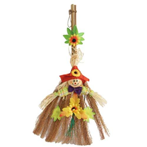 Yinew Vogelscheuche Sonnenblumen Besen Halloween Kostüm Cosplay Hexe Zubehör Hausgarten Dekoration, Red Hat Vogelscheuche