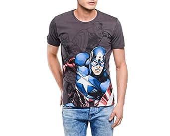 Captain America Men's T-Shirt (8903346526413_CA0EMT281_Large_Dark Grey)