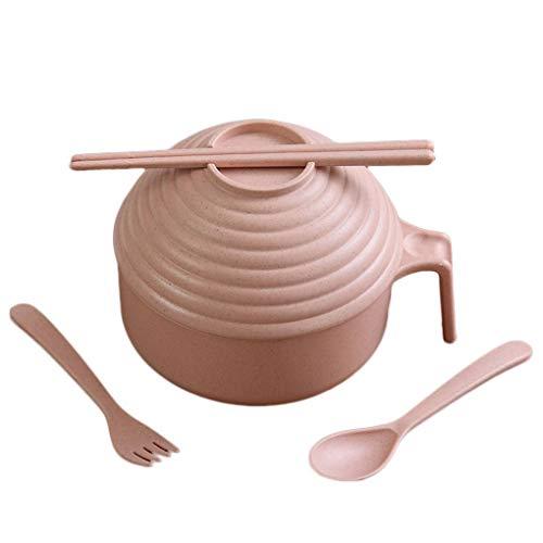 LafyHo Gesundes Weizenstroh Plastikküche Schüssel Reis Obst Nudelsuppe Deckel Schüssel Instant-Nudelschüssel Gesundes Besteck-Set Bestec Stäbchen Löffel Kit Rosa