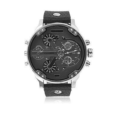 Fenkoo cagarny®men Mode runden Zifferblatt zwei Zeitzonen analoge Armbanduhr mit Kunstlederband sortierten Farben