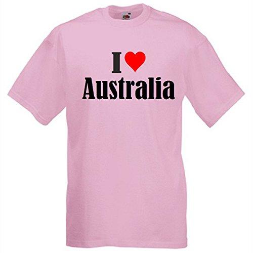 """T-Shirt """"I Love Australia"""" für Damen Herren und Kinder in Pink Pink"""