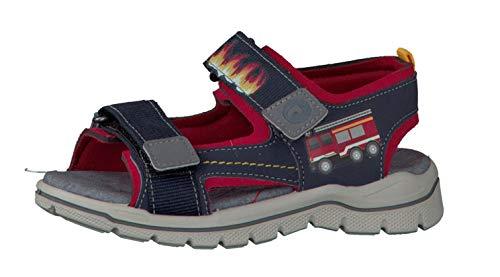 RICOSTA 6227400-174 Jungen Sandale aus Lederimitat Blinklichtern Weite Mittel, Groesse 32, Marine/rot