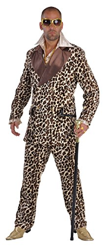 narrenkiste M212208-XXL Herren Gangster-Prollo Anzug-Kostüm Leoparden Look -