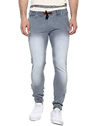 Urbano Fashion Men's Light Grey Slim Fit Stretchable Jogger Jeans