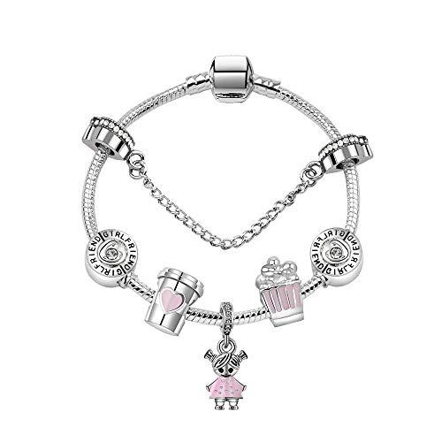Zuiaidess Armbänder Für Damen,Cute Girl Anhänger DIY-Legierung Runde Box Popcorn Perlen Schmuck Mode Persönlichkeit Armband Für Mädchen Dame Vielseitig Armbänder, 19 cm