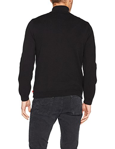 TOM TAILOR Herren Pullover Zip Jacket with Nylon Front Schwarz (Black 2999)