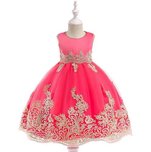 ZYLL Prinzessin Kleid Kleid Blumenmädchen Prinzessin Petticoat Cosplay für Kinder, für Karneval, Zeremonie, Taufe, Schönheitswettbewerb, Taufe, Urlaubsparty,Pink,150CM